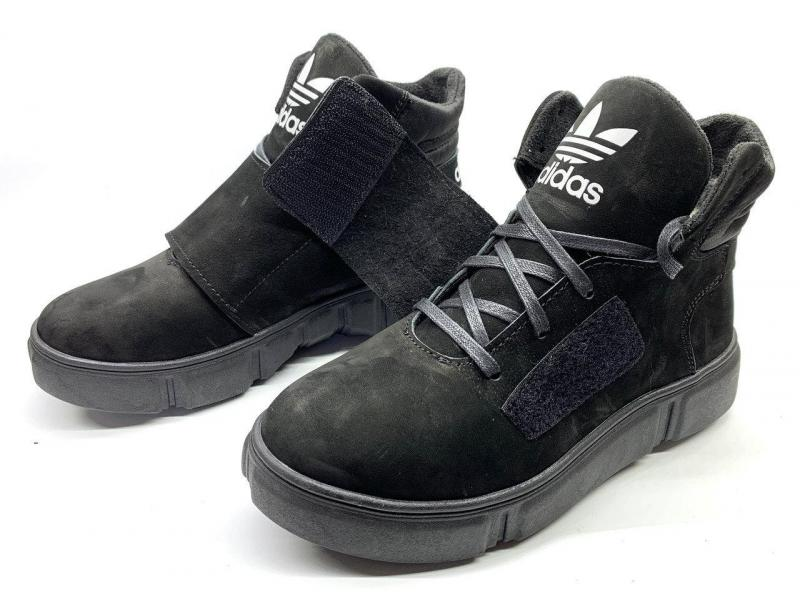 Ботинки детские зимние чёрные Adidas реплика. Украина