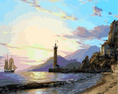 Фото Картины на холсте по номерам, Морской пейзаж VP859