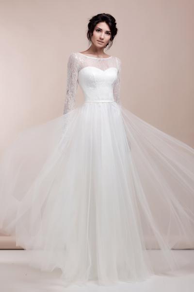 Непышное легкое свадебное платье с длинными рукавами Мелоди