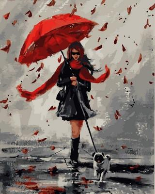 """VP836 """"Прогулка в дождливый день"""" Картина по номерам 40х50см"""