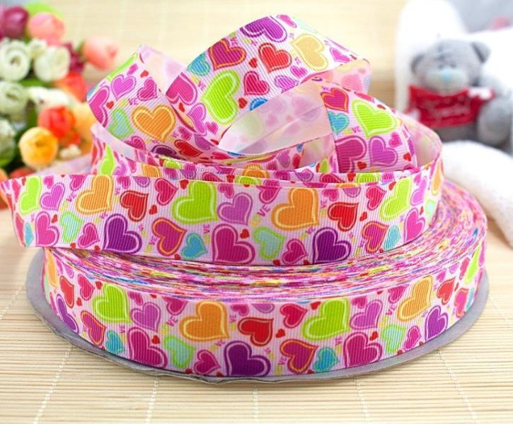 Фото Новинки Репсовая  лента  25 мм.   Цветные  Сердечки