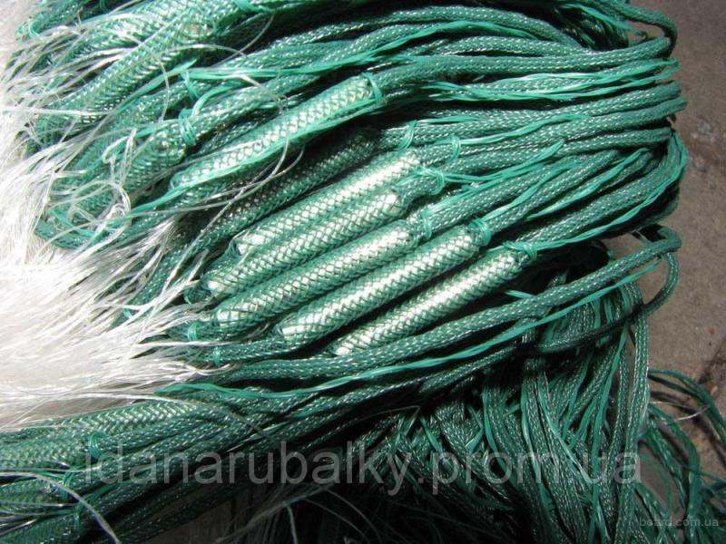 Сеть рыболовная (Одностенная) из лески 1.8м на 100м ( вшитый груз )