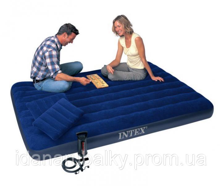 Велюр матрац 68765 синий, 203-152-22см, подушки 2шт, насос