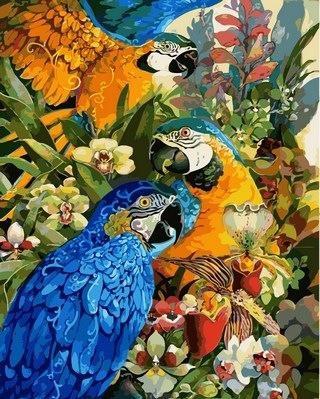 "Картина по номерам VP 617 ""Тропические попугаи"" в коробке 40х50см"