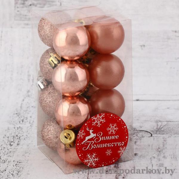 Фото Подарки на Новый год 2020 Набор шаров пластик d-3 см, 16 шт