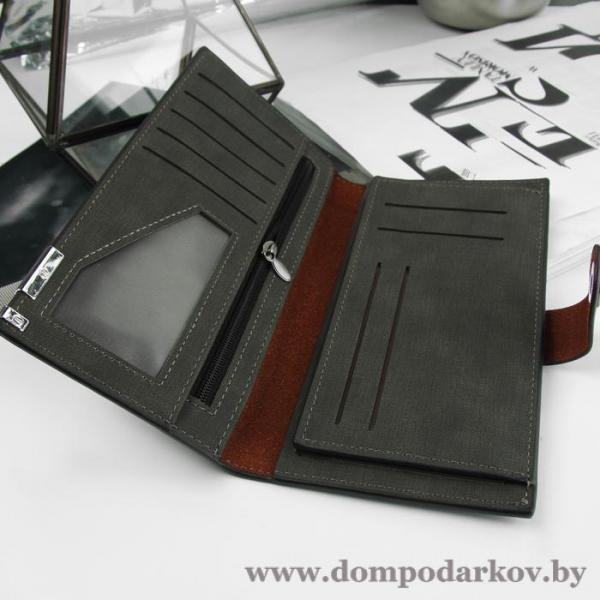 Фото Подарки мужчине  Портмоне мужское, 5 отделов, для карт, для монет, цвет чёрный