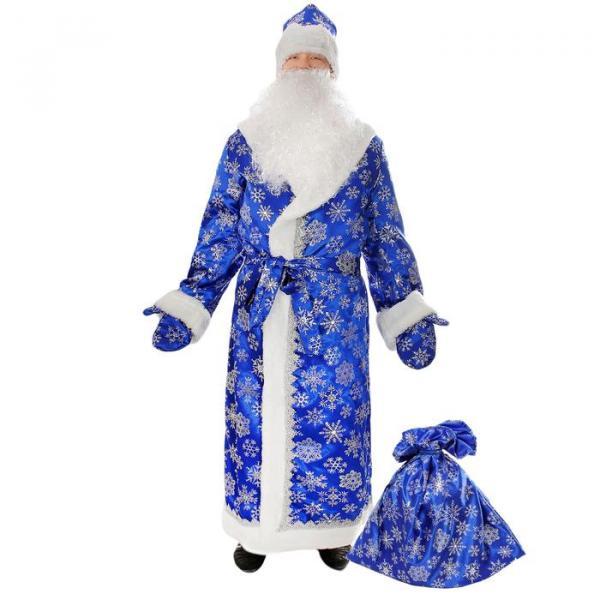Карнавальный костюм «Дед Мороз», сатин, размер 54-56, цвет синий