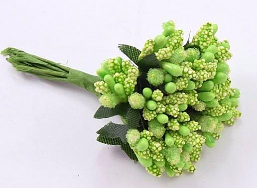 Фото Тычинки , добавки,ягодки Тычинки  на веточке  Салатово - зелёные   -  12 веточек в одной  упаковке