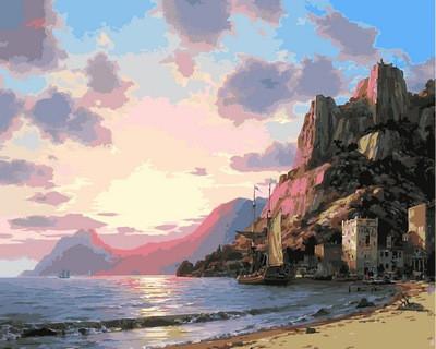 """Картина по номерам VP860 """"Закат у моря"""" в коробке 40х50см"""