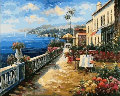 """Картина по номерам VP863 """"Кафе с видом на море"""" в коробке 40х50см"""