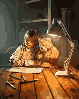 Фото Картины на холсте по номерам, Дети на картине KGX 25822