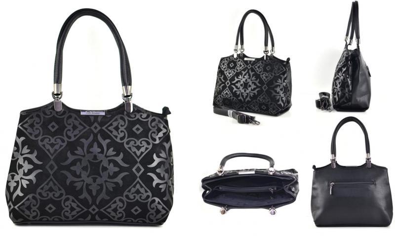 Фото Женские сумки, Модная классика. Экокожа и комбинированные  Сумка из натуральной замши и экокожи Gilda Tohetti