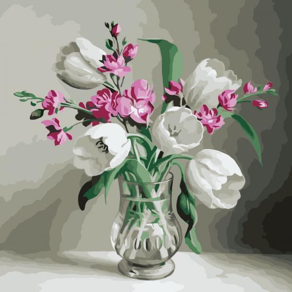 Фото Картины на холсте по номерам, Букеты, Цветы, Натюрморты KH 2020