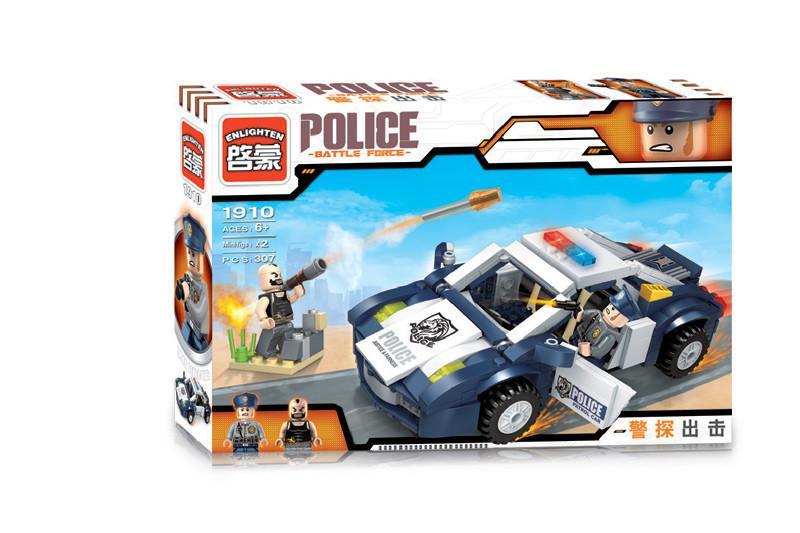 Фото Конструкторы, Конструкторы типа «Лего», Полиция. Пожарная охрана 1910 Конструктор BRICK Полицейская машина, 303 дет.
