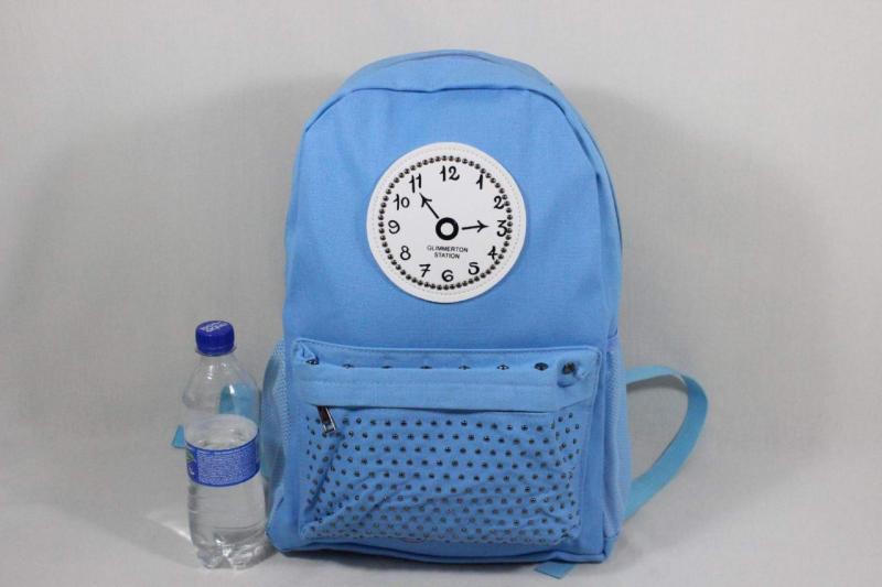 Рюкзак школьный ЧАСЫ голубой черный Код0154-01