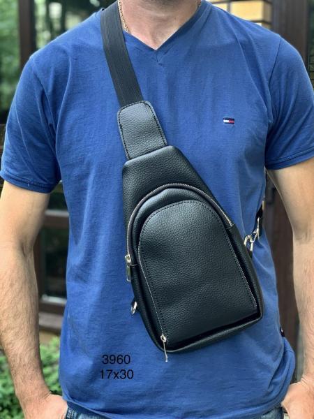Мужская сумочка рюкзачок на плечо черная Код 3960
