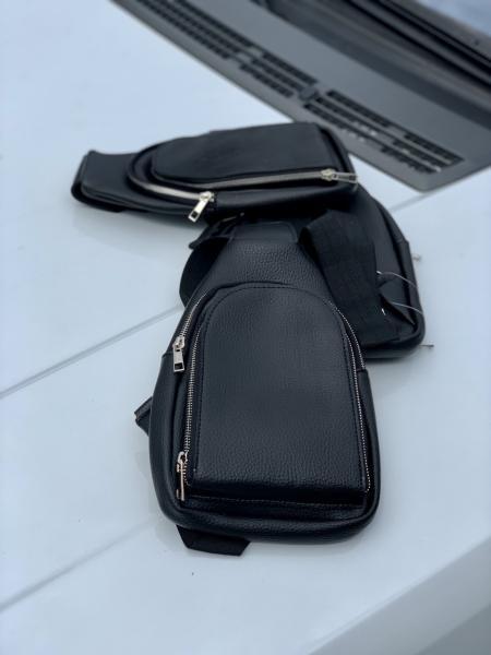 Мужская сумка рюкзачок на плечо черная Код0127-01