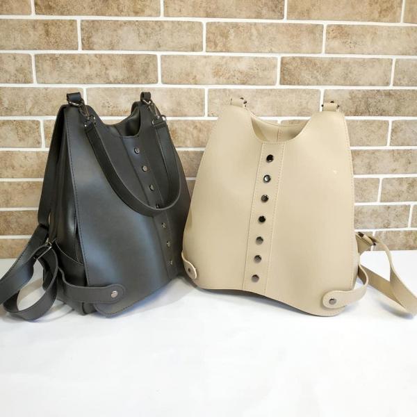 Женская сумка-рюкзак бежевая и черная Код СД1956