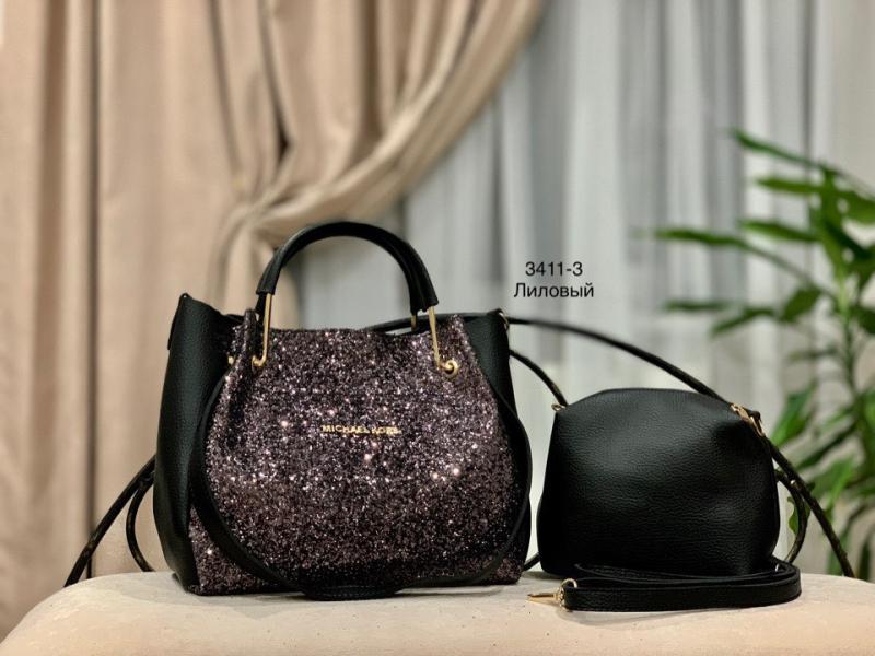 Женская сумка с глитером черная лиловая Код3410-1