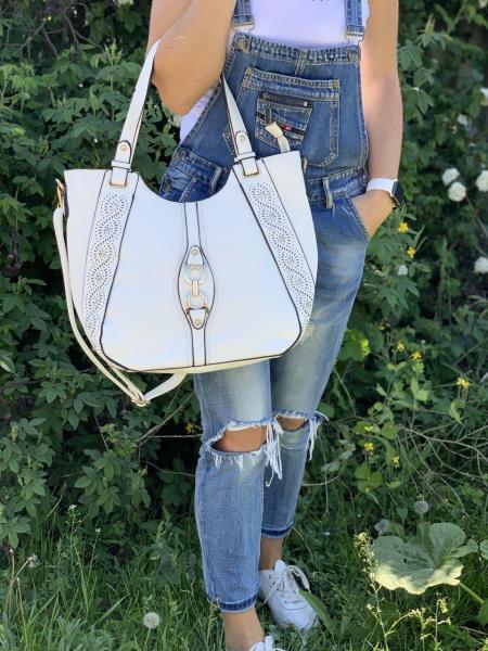 Женская сумка вместительная белая  Код 0084-11