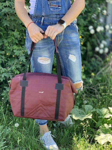 Женская сумка вместительная бордовая Код 0086-01