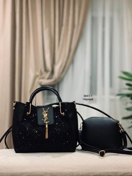 Женская сумка с глиттером черная  Код3841