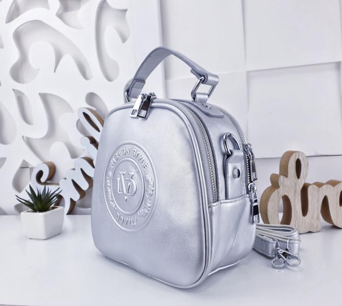 Сумка рюкзак женский серебро красный Код 02191
