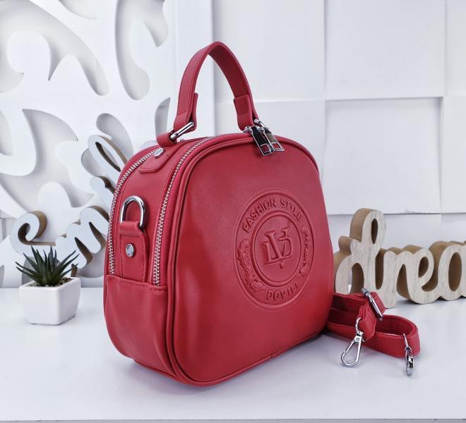 Сумка рюкзак женский красный Код 02192