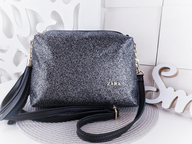 Женская сумочка-клатч экокожа глиттер чёрный серебро Код 02900-3