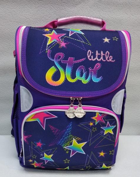 """Школьный рюкзак """"RAINBOW """" фиолетовый/розовый+принт Код ШК-09"""