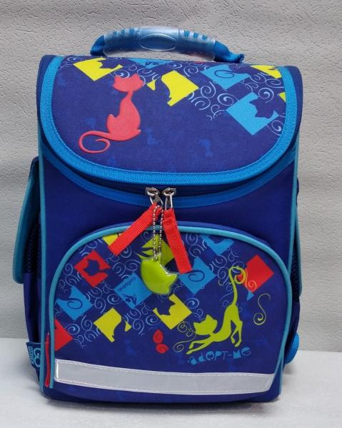 """Школьный рюкзак """"GO PACK"""" синий+принт Код ШК-11"""