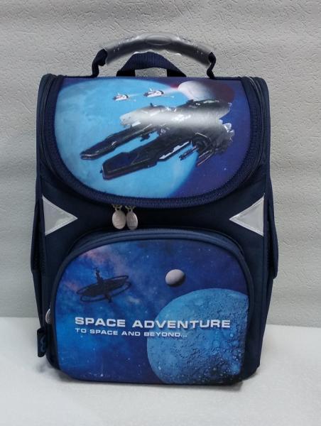 """Школьный рюкзак """"GO PACK"""" синий/черный/серый+принт Код ШК-21"""