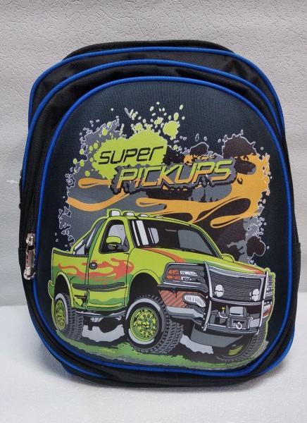 Школьный рюкзак чёрный/синий+принт Код ШК-038