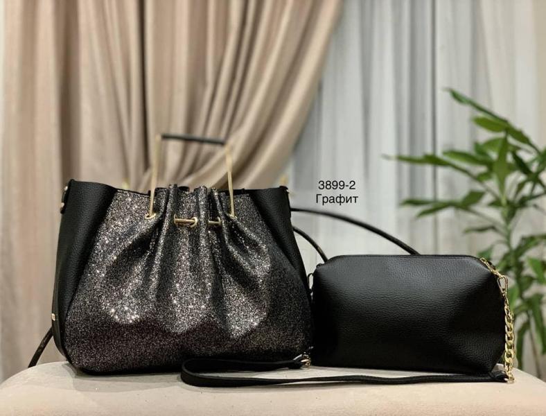 Женская сумка + клатч с глитером Код3899