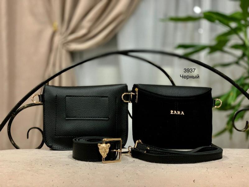 Маленькая сумочка ZARA на пояс черная Код 3937