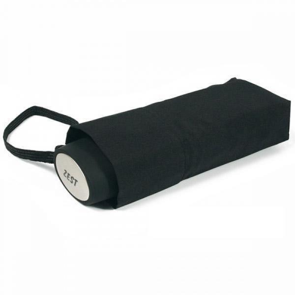 Компактный зонт Zest плоский механика, 5 сложений черный