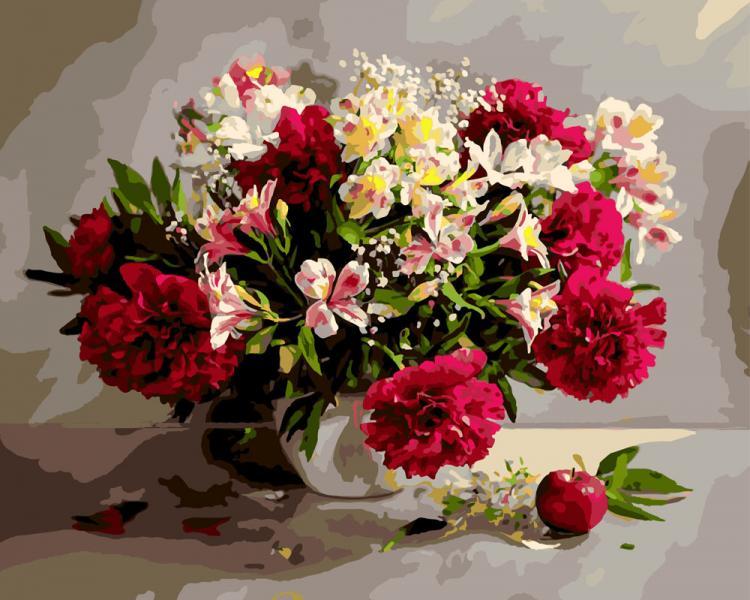 Фото Картины на холсте по номерам, Букеты, Цветы, Натюрморты KGX 9794 Цветочное великолепие Роспись по номерам на холсте в коробке 40х50см