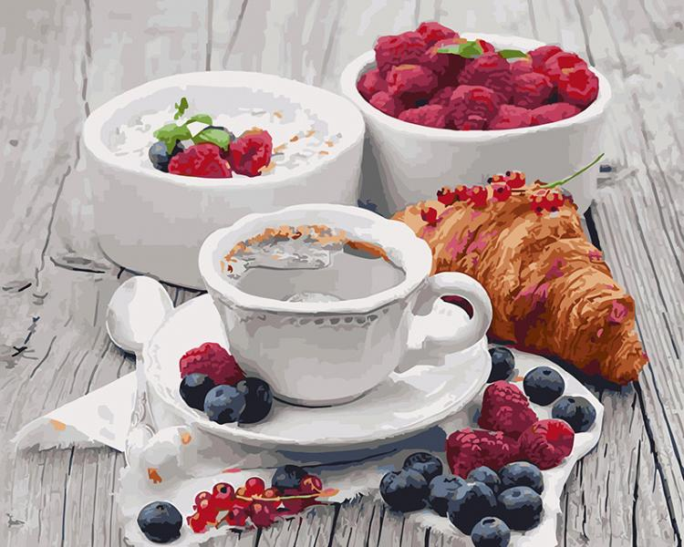 Фото Картины на холсте по номерам, Букеты, Цветы, Натюрморты KGX 5509 Ароматный завтрак Картина по номерам  40х50см в коробке