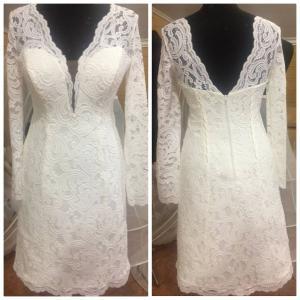 Фото Свадебные платья Короткое свадебное платье с рукавами Сонета
