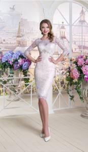 Фото Свадебные платья Короткое кружевное свадебное платье футляр Света