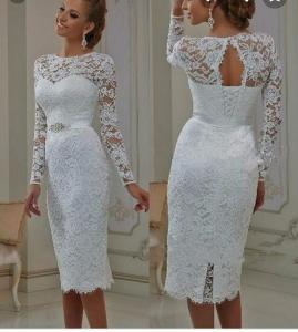 Фото Свадебные платья Кружевное короткое свадебное платье с рукавами Метиола