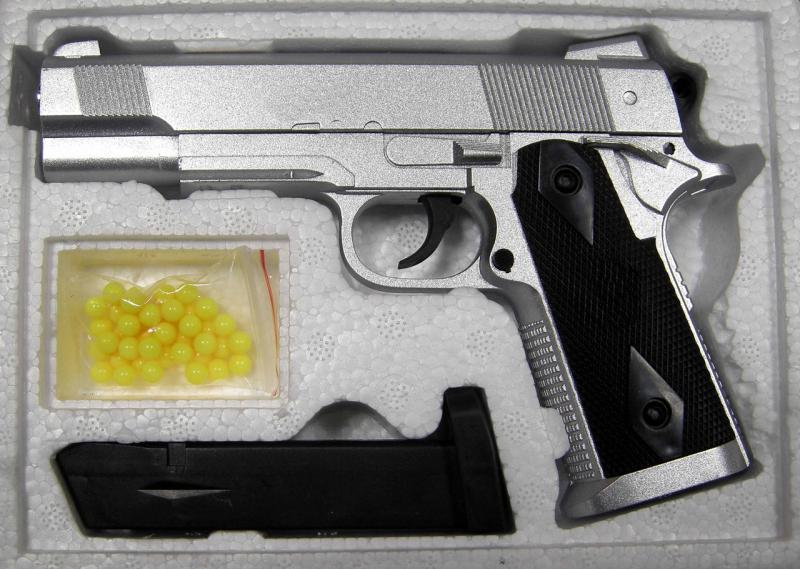 Фото Игрушечное Оружие, Стреляет пластиковыми 6мм  пульками, Металлическое и комбинированное (металл + пластик) оружие Детский игрушечный пистолет металлический ZM25 (Colt1911-A1)