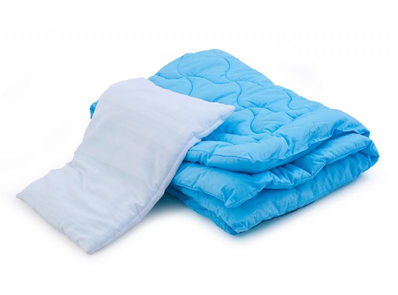 Комплект в кроватку одеяло и подушка (голубой, розовый, салатовый)