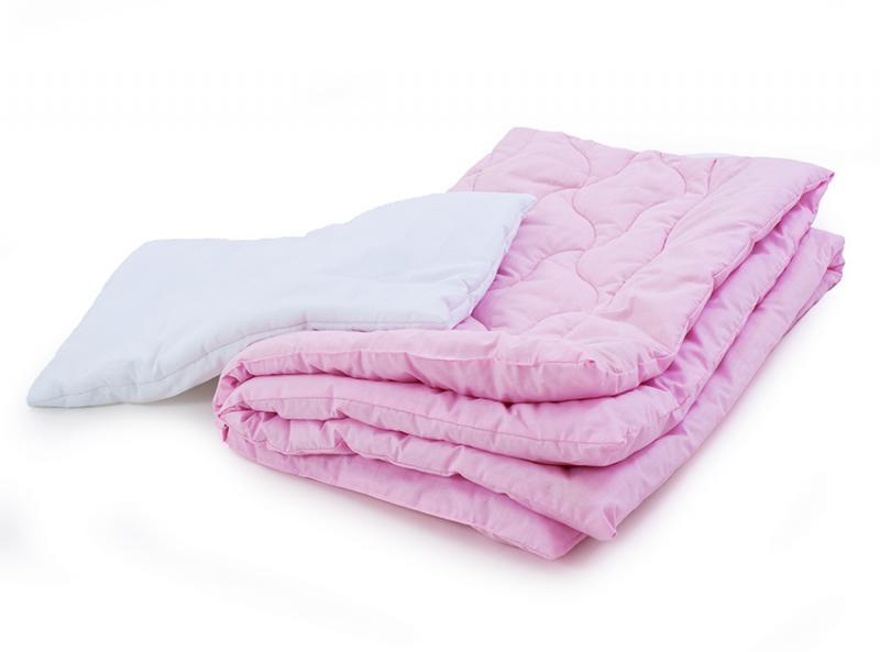 Фото ДЕТСКОЕ ПОСТЕЛЬНОЕ, Детские наборы Комплект в кроватку одеяло и подушка (голубой, розовый, салатовый)