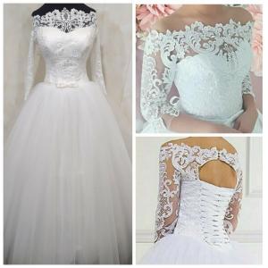 Фото Свадебные платья Пышное свадебное платье с блестящей юбкой Алина3