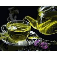Фото Картины на холсте по номерам, Букеты, Цветы, Натюрморты VP 1135 Зеленый чай с ромашкой Роспись по номерам на холсте 40х50см