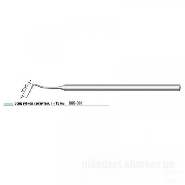 Фото Для стоматологических клиник, Инструменты Зонд стоматологический изогнутый, I = 15 мм 080-001,