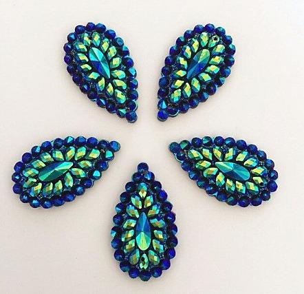 Фото Серединки ,кабашоны, Кабашоны, камеи Кабашон  28 * 16 мм.  Пришивной   Синий  с  кристалическим  узором.
