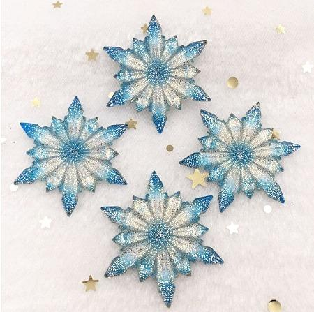 Фото Серединки ,кабашоны, Кабашоны, камеи Серединка  42 мм.   Снежинка  с  кристалической  поверхностью .  Бело - Голубая .