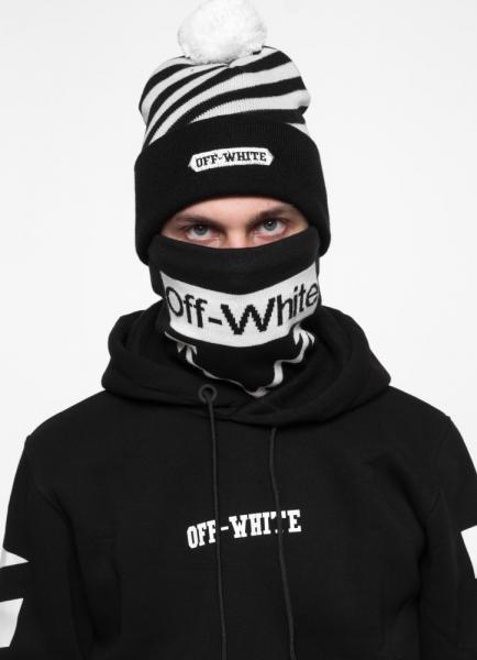 Комлект Off White (шапка + бафф) черно-белый